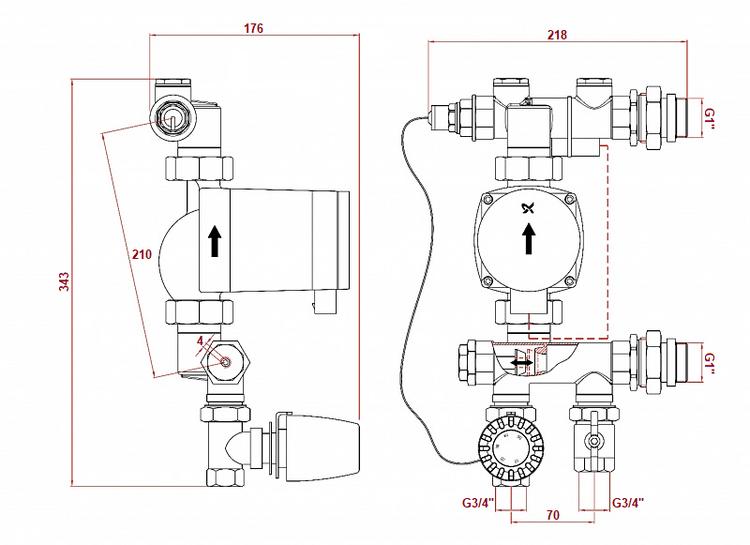 Dimensiunile controlerului pompei